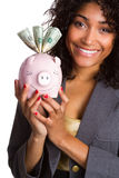 Black Woman Holding Piggy Bank Stock Images