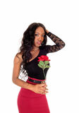 Black woman holding red rose. Royalty Free Stock Images