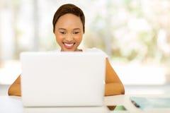 Black woman laptop computer Royalty Free Stock Photos