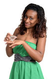 Black woman with large diamond ring Royalty Free Stock Image