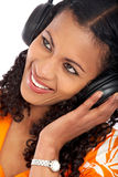Black woman listening to music Stock Photos