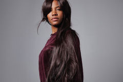 Black woman with a long dark straight hair Royalty Free Stock Photo