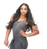 Black woman with long hair Royalty Free Stock Photo