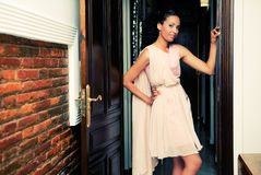 Black woman, model of fashion, with pink dress Stock Photography