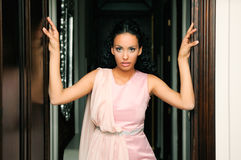 Black woman, model of fashion, with pink dress stock photos