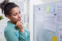 Black woman in office. Attractive african american woman in office next to whiteboard with sticker memos and printed business charts Stock Photos