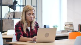 Black Woman Opening, Typing and Closing Laptop, Front View. Young creative designer , good looking stock footage