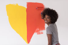 Black woman painting wall Royalty Free Stock Photo