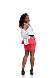 Black woman with pink dress Royalty Free Stock Image