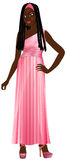 Black Woman Pink Gown royalty free illustration