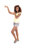 Black woman pointing with finger. Stock Photos