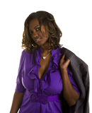 Black Woman in Purple Jacket on Shoulder Stock Photography