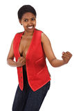 Black woman with raised fists Royalty Free Stock Photography