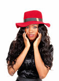 Black woman with red hat. Stock Photo