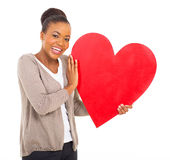 Black woman red heart Stock Photo