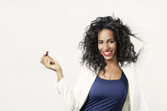 Black woman with red lipstick smile to camera Royalty Free Stock Image