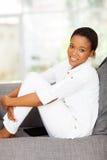 Black woman relaxing stock photo