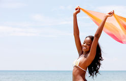 Black woman with a sarong Royalty Free Stock Image