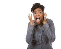 Black woman screaming. Pretty black woman wearing casual outfit on white background Royalty Free Stock Photos