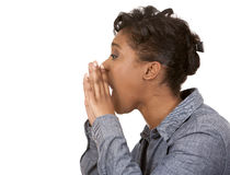 Black woman screaming. Pretty black woman wearing casual outfit on white background Stock Photo