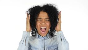Black Woman Screaming, white Background. High quality Royalty Free Stock Images