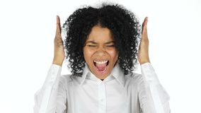 Black Woman Screaming, white Background stock video