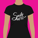 Black Woman Shirt with Conceptual Smile More Texts Royalty Free Stock Photography