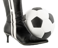 Black woman shoe and football ball. Isolated on white background Royalty Free Stock Photo
