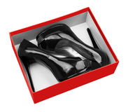 Black woman shoes in box Royalty Free Stock Photos