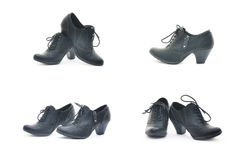 Black woman shoes in different positions. Isolated on white Stock Photography