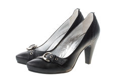 Black woman shoes with small straps. Isolated on white Royalty Free Stock Photos