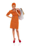Black woman shopping bags Royalty Free Stock Images