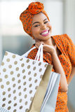 Black woman shopping mall. Beautiful black woman shopping spree in mall Stock Images