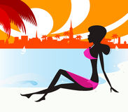 Black woman silhouette: girl relaxing on the beach Royalty Free Stock Photo