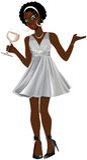 Black Woman Silver Dress Royalty Free Stock Photos