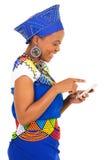 Black woman smart phone Royalty Free Stock Image
