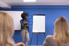 Black woman Speaker Seminar Corporate Business Meeting Concept. Young african american Speaker Seminar Corporate Business Meeting Concept Royalty Free Stock Images