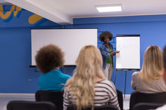 Black woman Speaker Seminar Corporate Business Meeting Concept. Young african american Speaker Seminar Corporate Business Meeting Concept Stock Photos