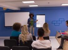 Black woman Speaker Seminar Corporate Business Meeting Concept. Young african american Speaker Seminar Corporate Business Meeting Concept Stock Image