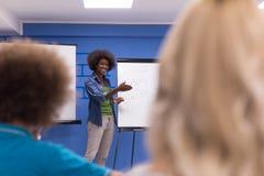 Black woman Speaker Seminar Corporate Business Meeting Concept. Young african american Speaker Seminar Corporate Business Meeting Concept Stock Images