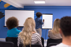 Black woman Speaker Seminar Corporate Business Meeting Concept. Young african american Speaker Seminar Corporate Business Meeting Concept Stock Photo