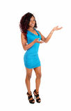 Black woman standing blue dress. Royalty Free Stock Photography