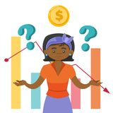 Black woman in stress because of the market crisis. Black woman in stress showing market charts with uncertain data. Concept of market crisis, instability Royalty Free Stock Image