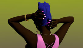 Black woman styling her hair. Black woman in a pink dress styling her blue dyed hair, over green background, 3D illustration, raster illustration Royalty Free Stock Photography