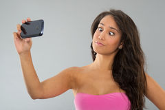 Black woman taking funny selfie Royalty Free Stock Images