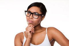 Black woman thinking Royalty Free Stock Images