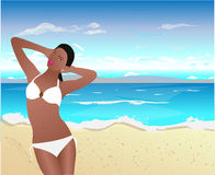 Black woman on tropical beach Stock Images