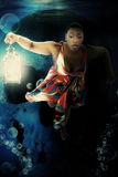 Black Woman Underwater Dress Fantasy Stock Photo
