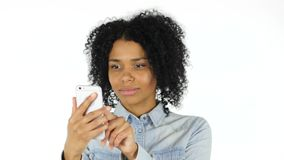 Black Woman Using Smartphone. 4k  high quality stock video footage