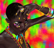 Black woman in vogue pose against a colorful background. Royalty Free Stock Photography